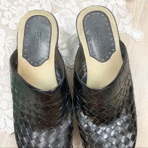 Bass Shoes - Bass Black Leather Textured Mules Slip On Clogs 8